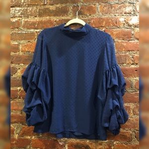 Navy High Neck Blouse w/ Fun Arms! Barely worn!